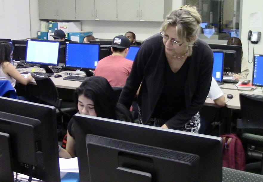 Marcielle helping a student. croppedjpg